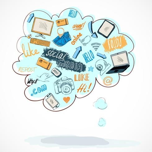 Buble med sociala medier teknik ikoner vektor