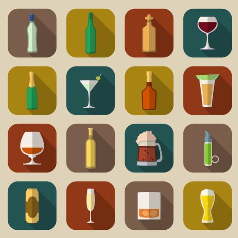 Alkohol ikoner platt vektor