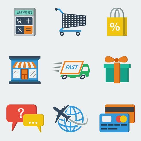Einkaufen-E-Commerce-Ikonen flach vektor