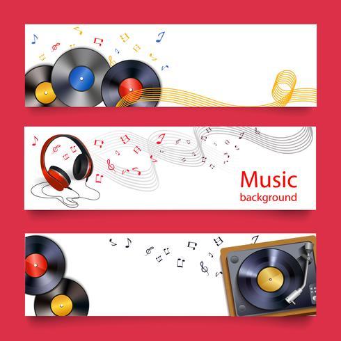 Vinyl plåt musik banderoller vektor