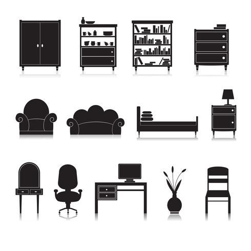 Möbler Ikoner Svart vektor