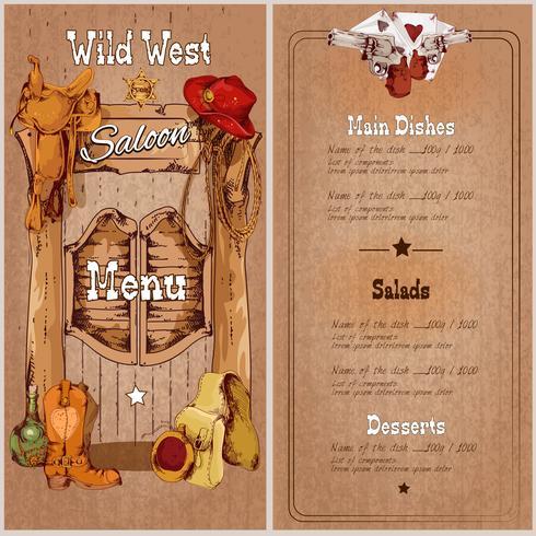 Wildes West-Saloon-Menü vektor