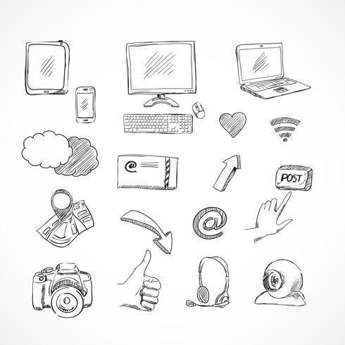 Doodle sociala medier ikoner uppsättning vektor
