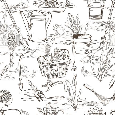 Nahtlose Skizze mit Gartengeräten vektor