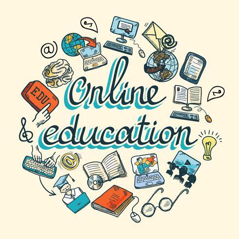 Onlineausbildungsikonenskizze vektor