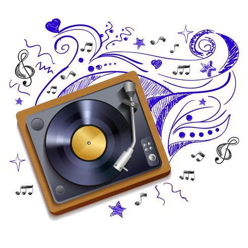 musik doodle vinyl rekordspelare vektor