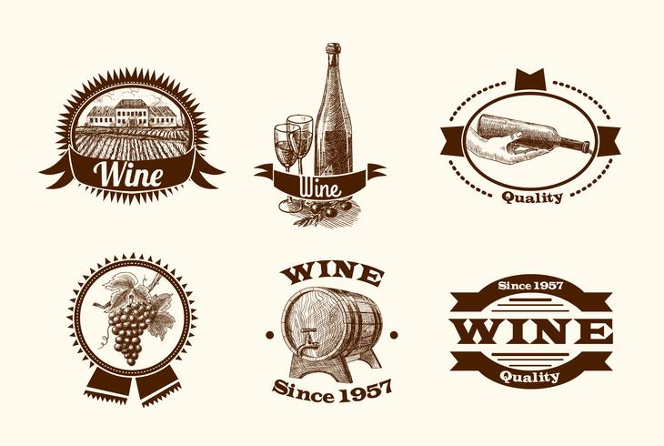 Weinskizze Etiketten vektor