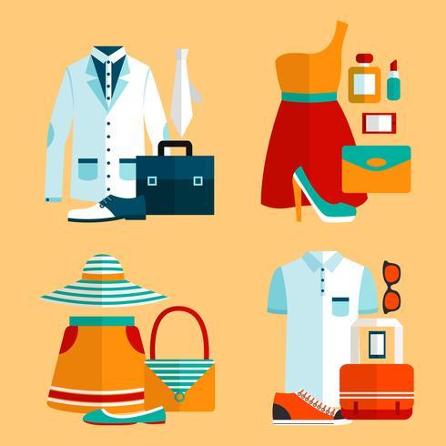 Shopping Kläder Ikoner Set vektor