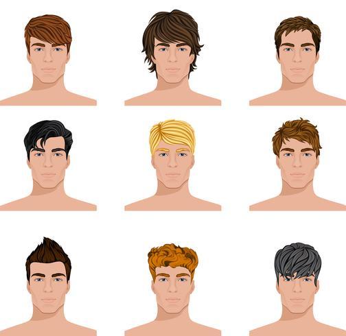 Olika frisyr män står inför ikoner uppsättning vektor
