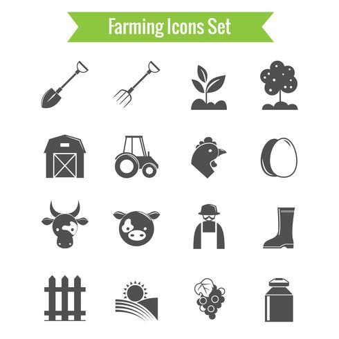 Landwirtschaftsernte und Landwirtschafts-Ikonen eingestellt vektor