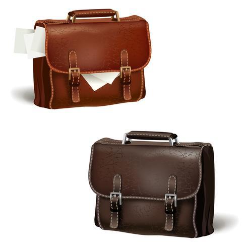 Svart och brunt läderväskor vektor