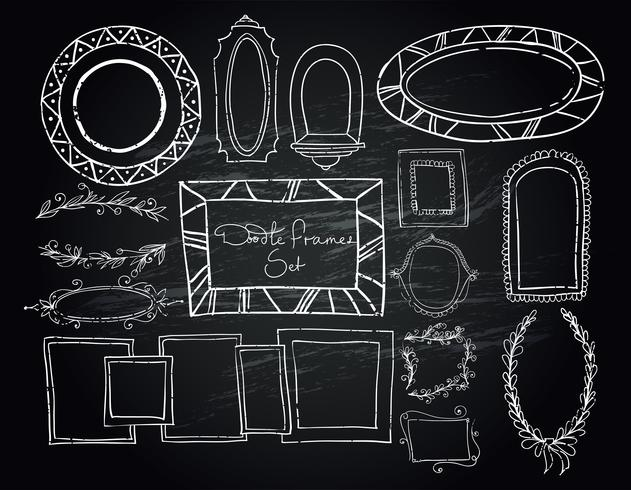 Tafel Doodle Frames gesetzt vektor