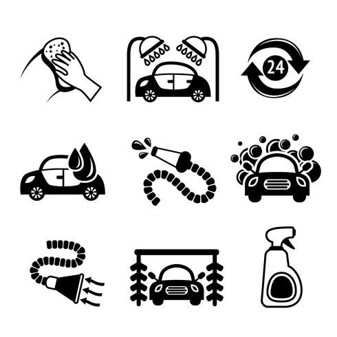 Bil tvätt ikoner svart och vitt vektor