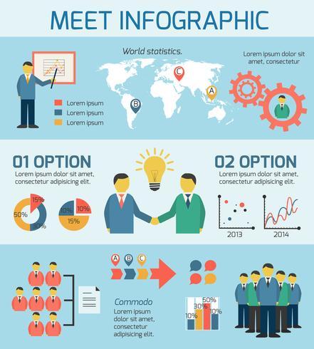 Geschäftsleute, die Infografiken treffen vektor