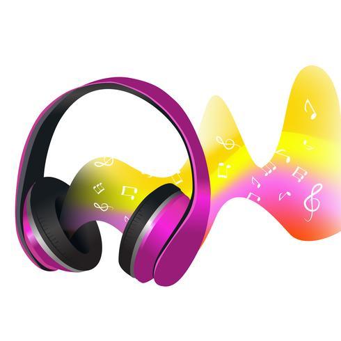 Hörlurar och ljudvågor vektor