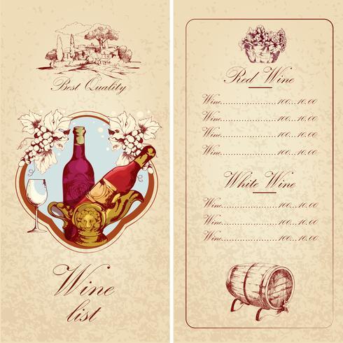 Weinliste Vorlage vektor