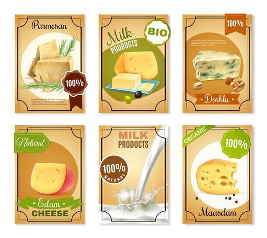 Mjölkprodukter Vertikala Banderoller vektor