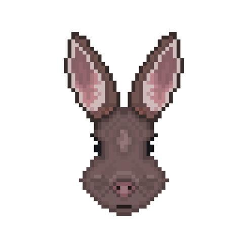 Kaninchenkopf im Pixelkunststil. vektor