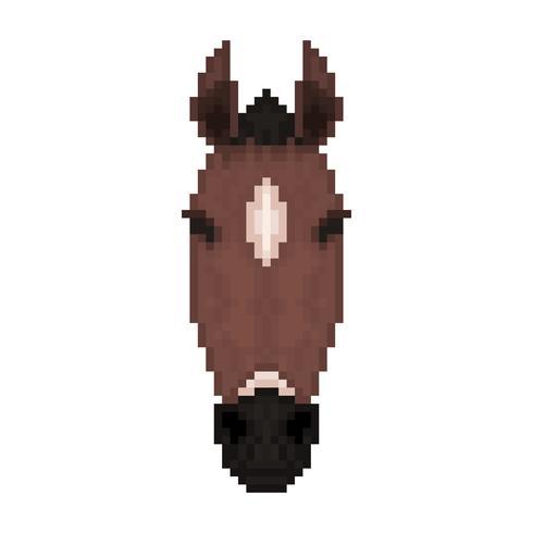 Pferdekopf im Pixelkunststil. vektor