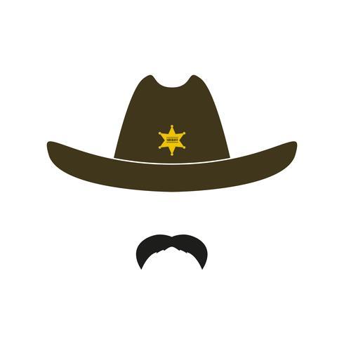 Sheriff ansikte ikon isolerad på vit bakgrund. vektor