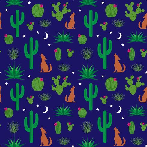 coyote och kaktusmönster vektor
