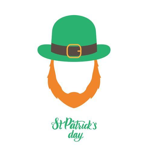 Irländsk älv med rött skägg och grön hatt. St Patricks Day. vektor