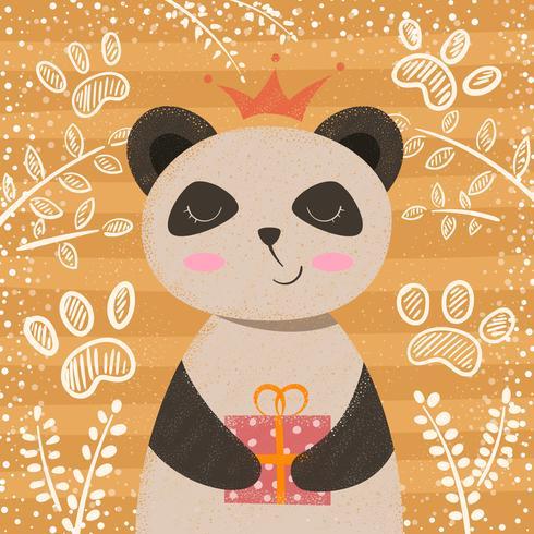 Prinsessan söt panda - tecknade karaktärer. vektor
