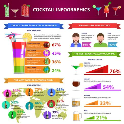 cocktail infographics set vektor