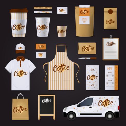 Kaffe Corporate Identity Design Set vektor