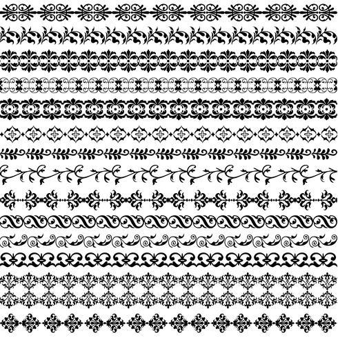 schwarzes verziertes Grenzmuster vektor