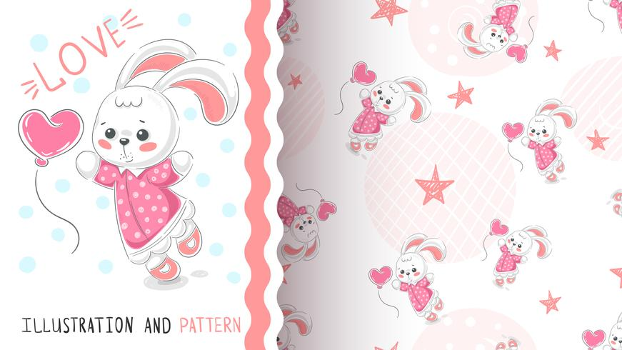 Kanin med hjärta - sömlöst mönster vektor
