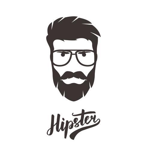Hipster porträtt i glasögon. Snygg man. vektor