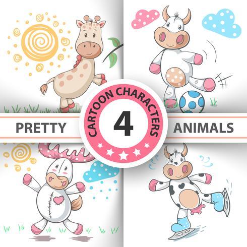 Set Cartoon Tiere Kuh, Hirsch, Stier, Giraffe. vektor
