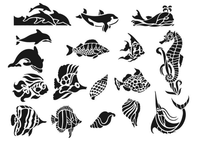 Sea Life Tier Vektor Pack