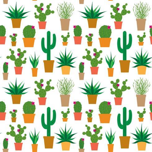 Kaktus in Töpfen Vektormuster vektor