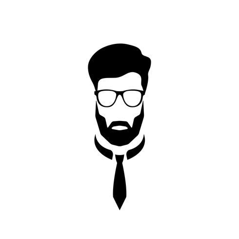 Porträtt av en kontorsarbetare med glasögon och slips. vektor