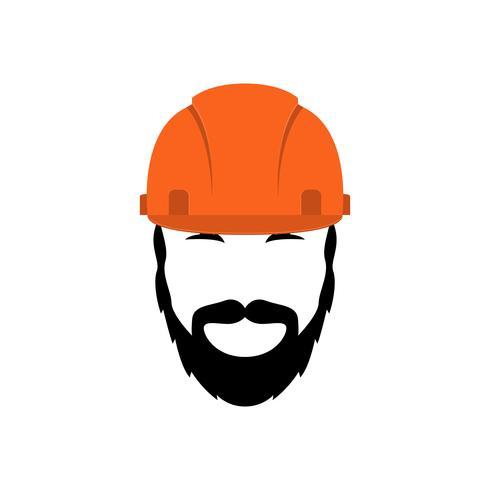 Porträtt av en byggare i en orange hjälm med skägg och mustasch. vektor
