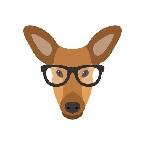 Hjort kvinna i glasögon. vektor