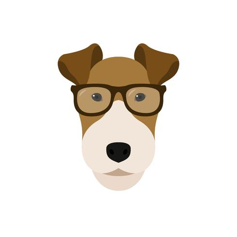 Fox Terrier hund i glasögon. vektor