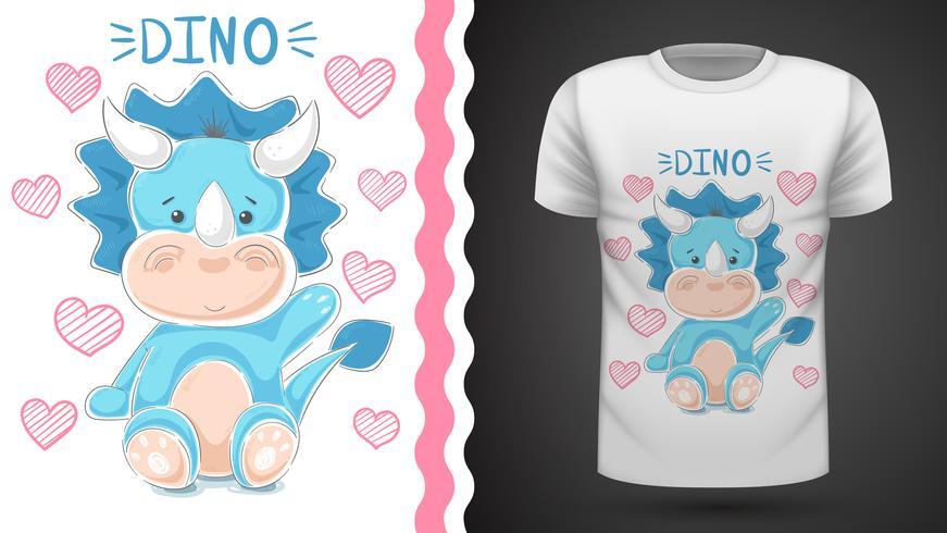 Gullig teddy dinosaur - idé för tryckt t-shirt. vektor
