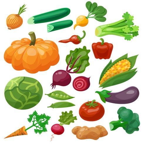 Grönsaker Ikoner Set vektor