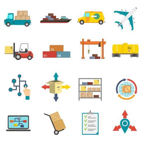 Logistik flache Icons Set vektor