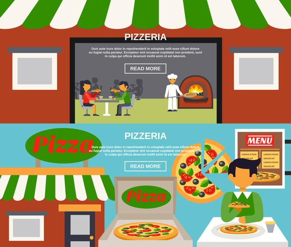 Pizzeria Banners Set vektor
