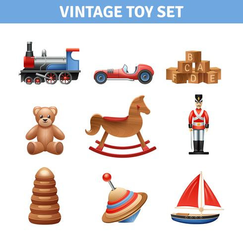 Vintage Spielzeugikonen eingestellt vektor