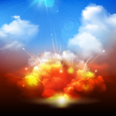 Explosions moln och blå himmel banner vektor