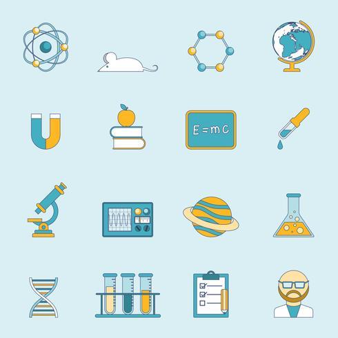 Wissenschaft und Studie Icon Set vektor