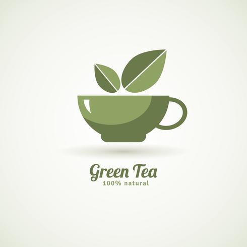 Grön te kopp blad design ikon vektor
