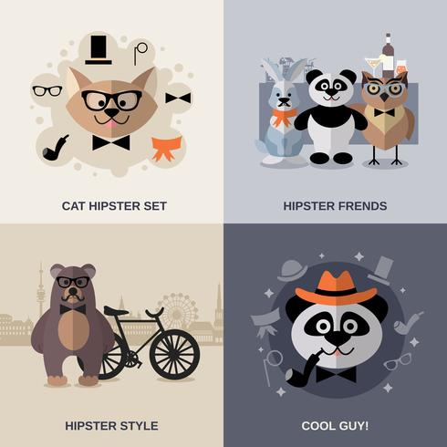 djur hipster set vektor