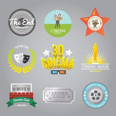 Cinema Labels Sammlung vektor