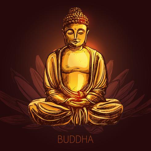 Buddha på Lotus Flower Illustration vektor